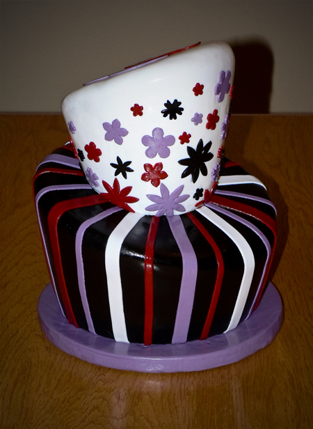 wonky topsy turvy whimsical 13th birthday shiny carved fondant black red purple white chocolate 13