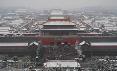 Forbidden City North Gate (NowJustNic) Tags: china park roof snow tree umbrella nikon gate day north beijing forbiddencity jingshanpark gugong d80 nikkor18135mm