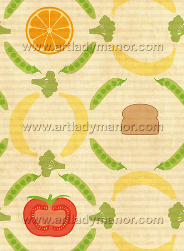 Food Pattern for zazzle and avery recipe binder design contest