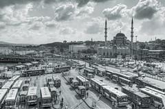 [フリー画像] [人工風景] [建造物/建築物] [街の風景] [モスク] [スルタンアフメト・モスク/ブルーモスク] [世界遺産/ユネスコ] [トルコ風景] [イスタンブール] [モノクロ写真]  [フリー素材]