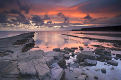 Kimmeridge Sunset (antonyspencer) Tags: uk winter sunset seascape west pool rock bench portland landscape coast rocks path south tide low unesco dorset colourful broad range jurassic purbeck kimmeridge lulworth ledges visipix