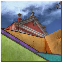 Looking up (Nespyxel) Tags: muro church colors lines wall architecture stair streetlamp lookingup chiesa scala colori architettura lampione geometrie linee geometries challengeyouwinner fbdg nespyxel stefanoscar