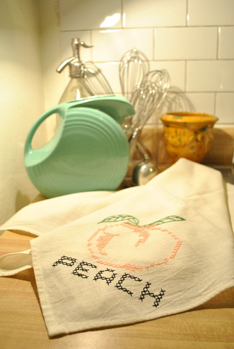 Vintage Cross-stitched Peach Dishtowel