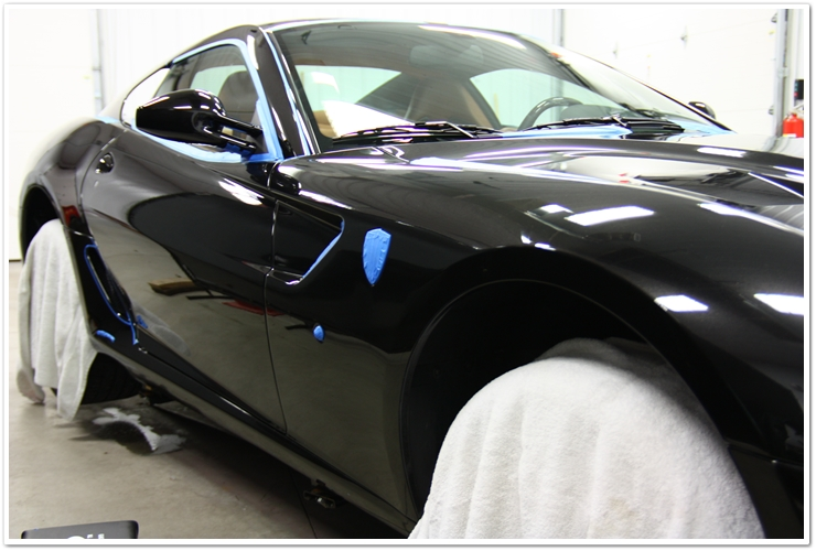 Ferrari 599 GTB taped and protected before polishing