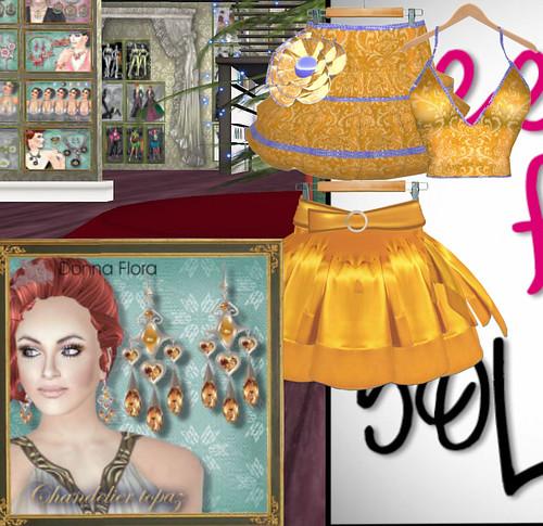 50L Weekend Fever Donna Flora dress, skirt, earrings