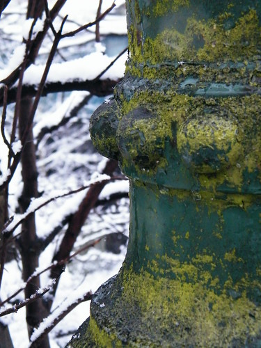 Mossy lampost in snow