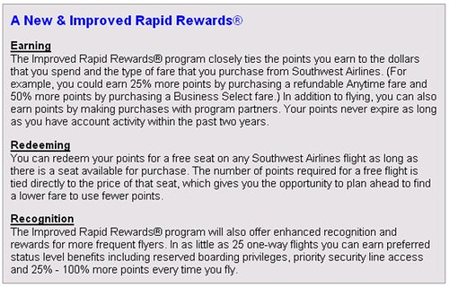 Southwest Rapid Rewards Change Options in Survey