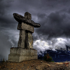 On Top of the World (ecstaticist - evanleeson.com) Tags: world sculpture cloud canada sport rock vancouver canon square whistler high skiing dynamic image symbol altitude competition games icon columbia downhill event gondola british olympics brand range inukshuk hdr height global postprocessing vancouver2010 photomatix tonemapped tonemapping g10 olympicsymbol