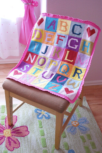 Alphabet blanket in the nursery
