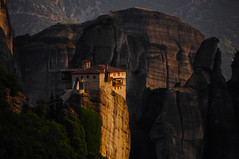 Roussanou Sunset (Saumil U. Shah) Tags: travel light sunset wallpaper cliff rock calendar postcard greece monastery getty desktopwallpaper shah magicalmoments meteora luminosity kalambaka saumil kastraki roussanou luminosityandlight cal2010 saumilshah