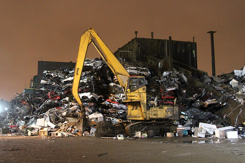 Scrap yard at night