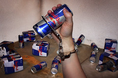 Red(Bull) Handed (thisisbrianfisher) Tags: red holding energy hand arm cola drink lock brian grunge can bull chain fisher addicted caffeine locked addict redbull handcuff birianfisher