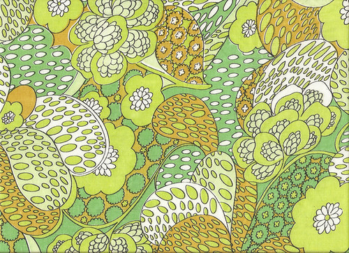 Green, Brown, Yellow & White Pattern Vintage Textile