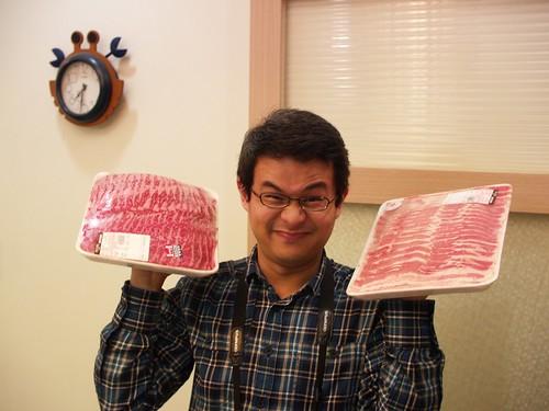 老頭跟三公斤的牛肉,三公斤的豬肉。