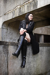 Avenger (Szmytke) Tags: chris portrait black fashion socks pose glasses scotland boots christine aberdeen kneehigh