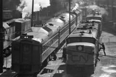 Scan11282ccx (citatus) Tags: cn rail railroad railway toronto canada roundhouse shops bw 1970 minolta srt 102 locomotive 6775