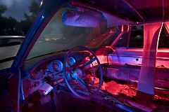 Ragged Bullet (Lost America) Tags: lightpainting ford abandoned night fullmoon junkyard thunderbird 1961 nocturnes thebigm