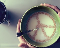 The Best Way To Start Your Day (Boy_Wonder) Tags: food canon hands peace tea joel cereal bowl inside 365 cheerios