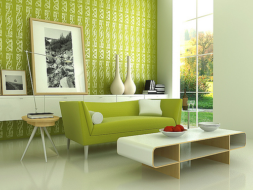 Green & White Living Room