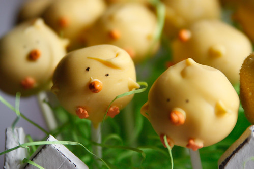 chick pops with hairdos