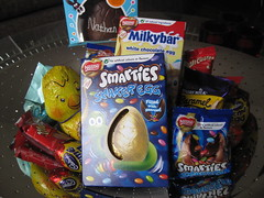 Nathan's Easter eggs (georgiarae) Tags: easter chocolate smarties eggs cadburys dairymilk cremeegg milkybar