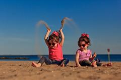 129/365 - May 9, 2011 - Sandstorm (Shane Woodall) Tags: ocean newyork beach water brooklyn coneyisland twins sand lily may ella 365 70200mm 2011 project365 canon5dmarkii 3652011 shanewoodallphotography