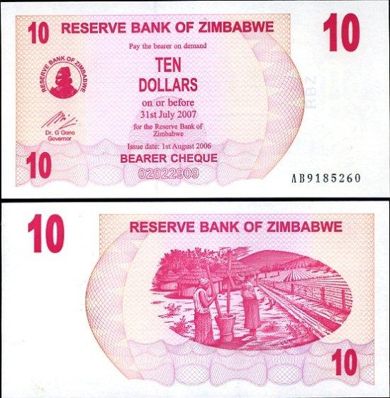 10 Dolárov Zimbabwe 2006, Pick 39