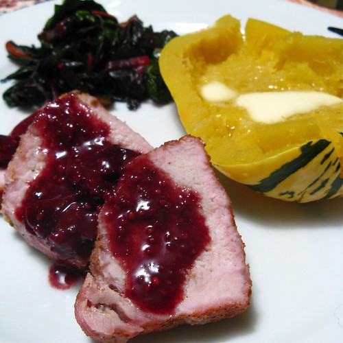 Pork Loin with Cherry Mustard Sauce
