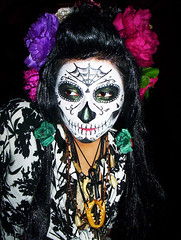 Dia De Los Muertos Calavera Face (CaroVorona) Tags: flowers roses woman art halloween girl strange face lady hair mexico skeleton skull weird costume interestingness outfit artistic aztec surreal odd bones muertos hispanic unusual fancydress necklaces calavera zapotec catrinademuertos