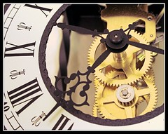 clockwork (lapideo) Tags: brown white black macro clock closeup eos time frankfurt clockwork gearwheel uhr uhrwerk badhomburg