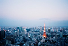 there will be love there  (librarymook) Tags: camera city sunset summer film japan lights tokyo cityscape fuji bokeh natura hills iso 1600  tokyotower fujifilm roppongi   classica mooprint