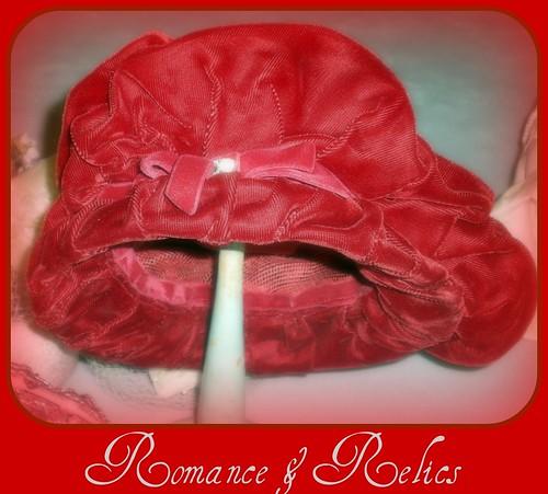 vintage velvet red hat