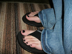 Nike sandals (HiTcH11) Tags: black cute sexy feet sandals nail polish thong strappy