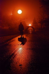 Midnight Moonlight (Tomitheos) Tags: bridge shadow red portrait mist toronto ontario canada rain fog hearts lyrics twilight nikon flickr poetry poem pavement vampire avatar picture optical pic nightshift daily luna fullmoon sidewalk photograph harmony midnight moonlight newmoon capture now today 2009 gettyimages bloodmoon stockphotography streetlevel highquality streetwalker bloodredsky 35faves midnightmoonlight mywinners shadowsilhouette theunforgettablepictures platinumhearts nightwanderer  469photographer bytomitheos rubyredphotographer hauntedpathway lonemanwalkingaway