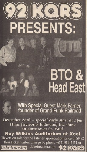 12/28/02 BTO/Head East/Mark Farner @ St. Paul, MN (Ad)