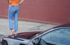 Barefoot on the hood (RoughToughSoleMan) Tags: female fetish foot women toes bare dry heels rough tough soles cracked calloused
