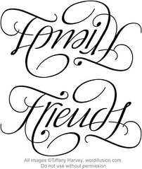"""Family"" & ""Friends"" Ambigram"