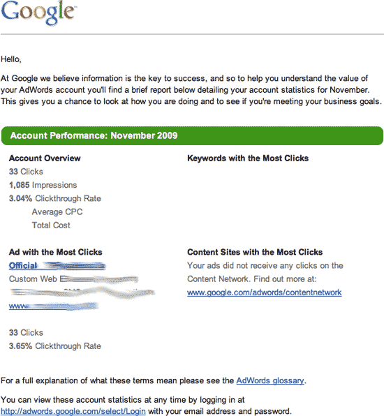 adwords performance emails