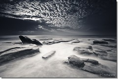 Trading Places (Matthew Stewart | Photographer) Tags: longexposure sky blackandwhite water rock sunrise rocks australia alexandra qld queensland headland slowmotion nd400 pointcartwright