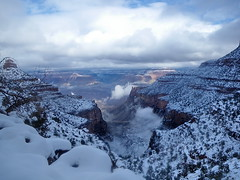 Point of Ecstasy - Bright Angel Trail - Grand Canyon (Al_HikesAZ) Tags: park camping winter arizona snow storm ice clouds nationalpark hiking quote grandcanyon nieve grand paisaje canyon hike trail national backpacking backcountry invierno hielo southrim  grandcanyonnationalpark brightangeltrail brightangel literaryreference grancaon gcnp awesomenature   sendirismo alhikesaz jackkeruoac   gc2009 belowtherim