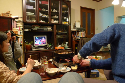 Setting up the Sukiyaki (while watching Red-White competition)