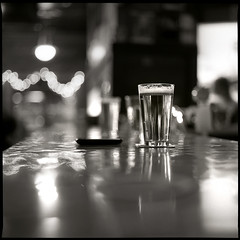 (Ansel Olson) Tags: 120 6x6 mamiya tlr film beer glass metal bar mediumformat lights virginia dof bokeh delta richmond pint 3200 ilford rva c330 c330s mamiyasekor80mmf28 commercialtaphouse beerkeh
