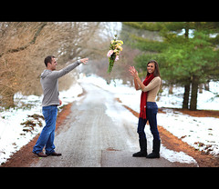 Love Toss - Anti Gravity (~Phamster~) Tags: road park trees winter snow canon engagement couples 85l phamster
