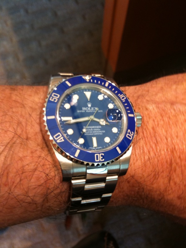 Rolex Submariner Stainless Steel Yellow Gold Watch Blue