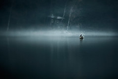 Moody Water (Mikko Lagerstedt) Tags: blue light shadow house mist blur color detail green art nature colors misty fog mystery photoshop suomi finland dark landscape photography boat photo fisherman cabin nikon scenery mood alone sad graphic unique horizon fineart stock grain perspective foggy atmosphere explore fisher mysterious horror serene lonely finnish nikkor noise sell 70300mm cinematic frontpage 2009 atmospheric vr mikko tuusulanjrvi resize latyrx d90 noiseadded nikond90 mikkolagerstedt lagerstedt