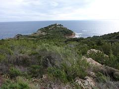 Sur le sentier, en vue de la tour de Sponsaglia