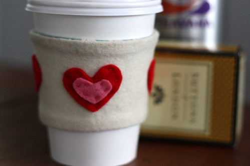 Coffee cozy with a heart