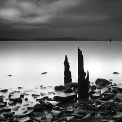 Bricks And Sticks (maxxsmart) Tags: california longexposure sky bw brick water clouds contrast canon pier blackwhite lee eastbay sanpablobay ef2470f28l contracostacounty thanksjoe nd110 seajunk 10stopnd powderworks 5dmarkii 9gnd