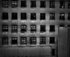 dirty windows (Daniel McQueen) Tags: old city windows christchurch urban blackandwhite empty rusty dirty hdr