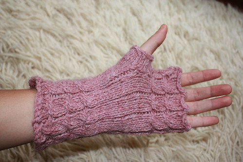 Pink Fetching Fingerless Mitts